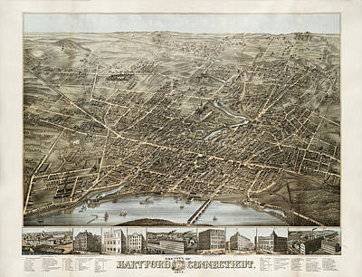 Vintage Map Photograph - Hartford Panorama 1877 by Andrew Fare