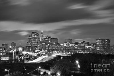 Photograph - Hartford Skyline At Night Bw Black And White by Jon Holiday