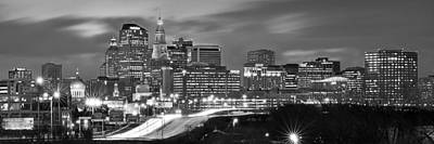 Photograph - Hartford Skyline At Night Bw Black And White Panoramic  by Jon Holiday