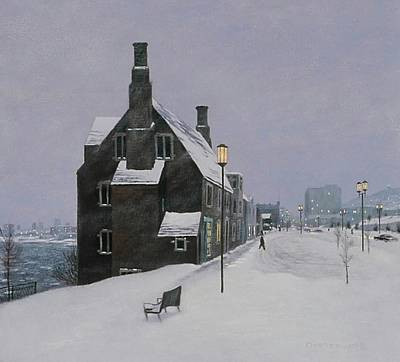 Snowy Night Painting - Hartley Building by Mike DeWitt