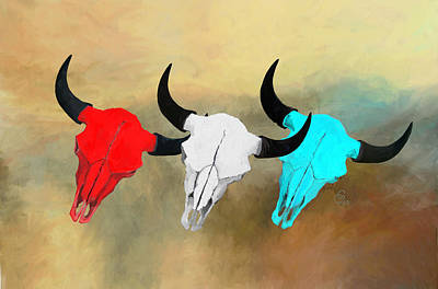 Painting - Hart's Camp Buffalo Skulls by GCannon