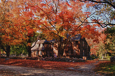 Hartwell Tavern Under Canopy Of Fall Foliage Art Print by Jeff Folger