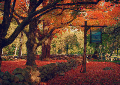 Hartwell Tavern Under Orange Fall Foliage Art Print by Jeff Folger