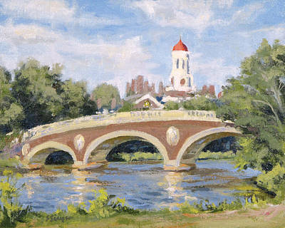 Cambridge University Painting - Harvard Footbridge by Steven A Simpson