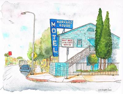 Flores Painting - Harvard House Motel In Hollywood Blvd - Los Angeles - California by Carlos G Groppa