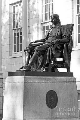 John Harvard Statue At Harvard University Art Print by University Icons
