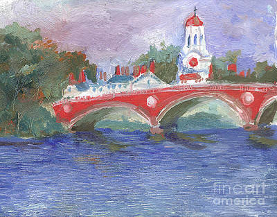 Cambridge University Painting - Harvard University John W. Weeks Bridge Cambridge Charles River by Stein