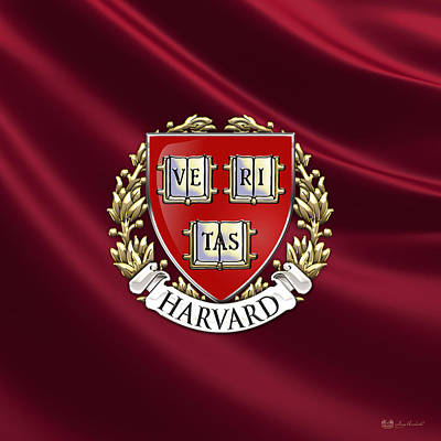 Harvard Digital Art - Harvard University Seal - Coat Of Arms Over Colours by Serge Averbukh