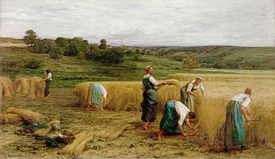 Laborer Painting - Harvest by Leon Augustin Lhermitte