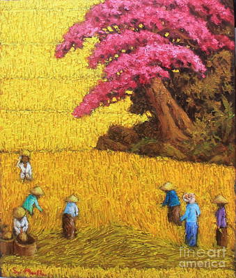 Rice Paddy Painting - Harvest 3 by Sri Martha