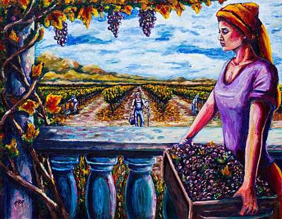 Harvest And The Vineyard's Daughter  Art Print by Kevin Richard