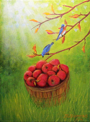 Harvest Apples And Bluebirds Art Print by Janet Greer Sammons