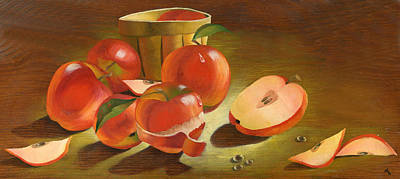 Cornucopia Painting - Harvest Apples by Doreta Y Boyd