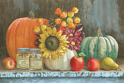 Sunflower Painting - Harvest Bench by Beth Grove