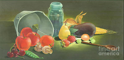 Still Life Painting - Harvest Fruit 2 by Doreta Y Boyd