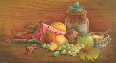 Cornucopia Painting - Harvest Fruit by Doreta Y Boyd