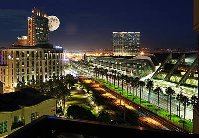 San Diego Convention Center Photograph - Harvest Moon At The Convention Center by Russ Harris