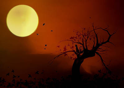 Digital Art - Harvest Moon by Hazel Billingsley
