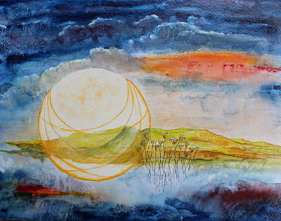 Painting - Harvest Moon by Lesley Atlansky