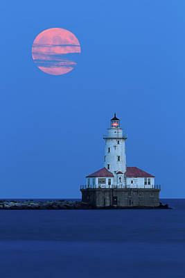 Photograph - Harvest Moon Over Chicago Harbor by Katherine Gendreau Photography