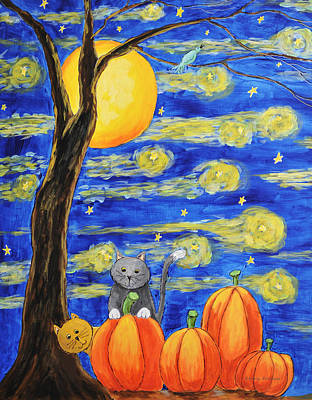 Painting - Harvest Moon Over The Pumpkins by Kenny Francis