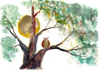 Buddhist Painting - Harvest Moon Owl by Ellen Miffitt