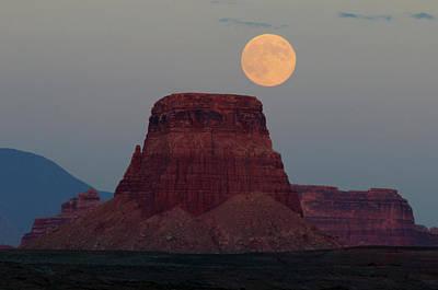 Harvest Moon Rising Over Tower Butte Art Print