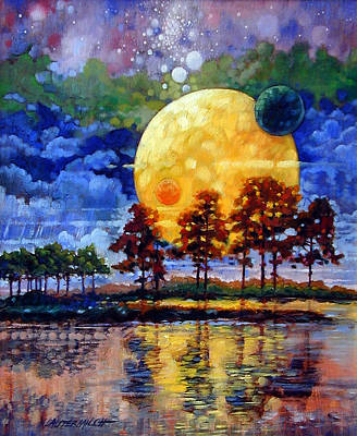 Painting - Harvest Moons by John Lautermilch
