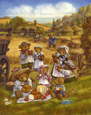 Bread And Cheese Painting - Harvest Picnic by Carol Lawson