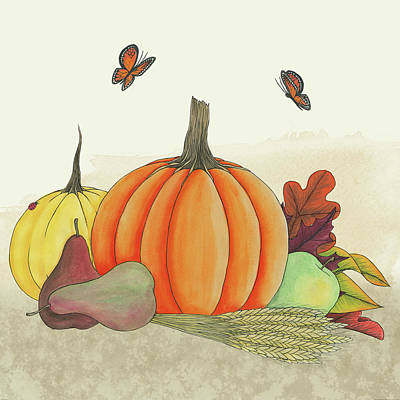 Corn Painting - Harvest Pumpkin II by Elyse Deneige
