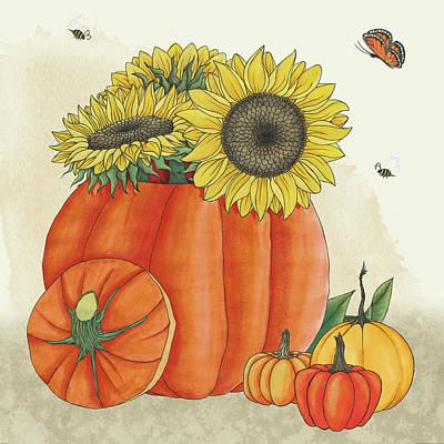 Corn Painting - Harvest Pumpkin Iv by Elyse Deneige