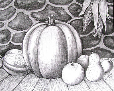 Cantaloupe Drawing - Harvest Still Life by Linda Williams