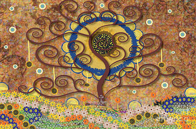 Art Print featuring the tapestry - textile Harvest Swirl Tree by Kim Prowse