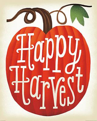 Pumpkins Painting - Harvest Time Happy Harvest Pumpkins by Michael Mullan