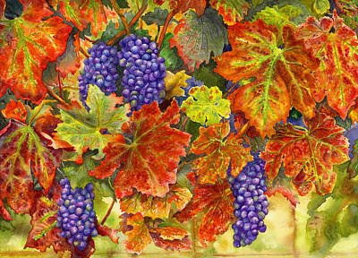 Grapevines Painting - Harvest Time by Karen Wright
