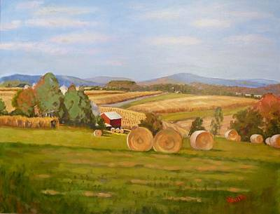 Harvest Time On Berger Hill Art Print