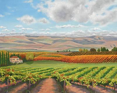 Farmscape Painting - Harvest Time by Peterson, Julie