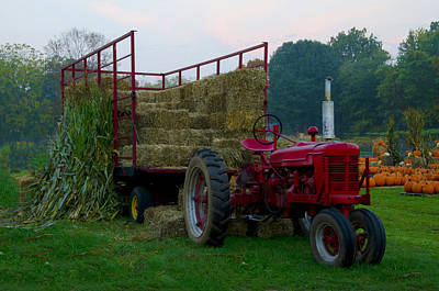 Hay Rides Photograph - Harvest Time Tractor by Bill Cannon