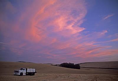 Photograph - Harvest Truck Sunset by Doug Davidson