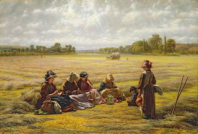 Harvesters Resting In The Sun, Berkshire, 1865 Oil On Canvas Art Print by Walter Field