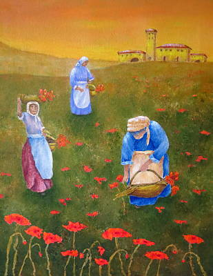 Harvesting Poppies In Tuscany Original by Pamela Allegretto