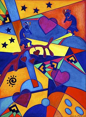 Harvesting The Love Kokopelli Art  Art Print by Lori Miller