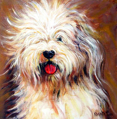Painting - Harvey The Sheepdog by Rebecca Korpita