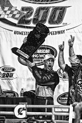 Harvick Wins Trophy  Print by Kevin Cable