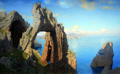 Haseltine's Natural Arch At Capri Art Print by Cora Wandel