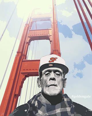 Dracula Digital Art - Hashtag Goldengate Frankie's Selfie by Filippo B