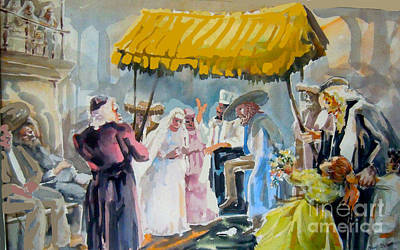 Jewish Humor Painting -  A Jewish Wedding by Shirl Solomon