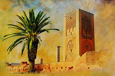 Rabat Painting - Hassan Tower by Catf