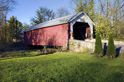 Photograph - Hassenplug Covered Bridge Under Blue October Skies by Gene Walls