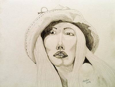 Drawing - Hat Girl 007 by Rand Swift